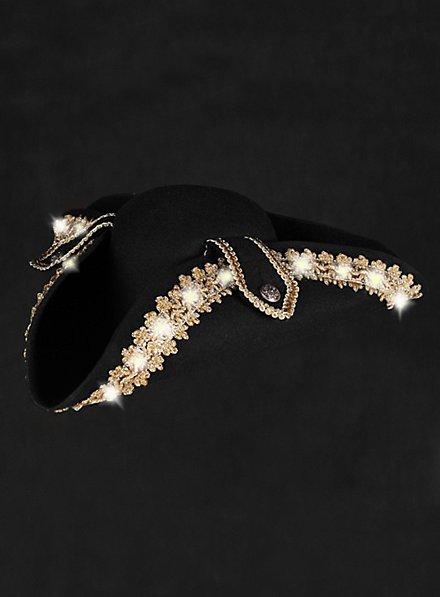LED Hut mit Goldborte weiß blinkend