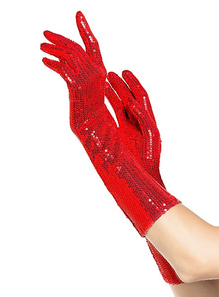 Long Gloves with Sequins red