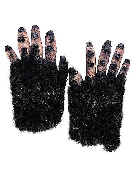 Mains de monstre poilues noir en latex