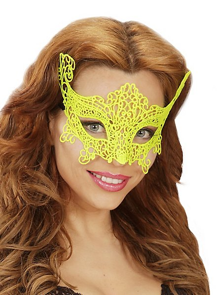Masque en dentelle jaune fluo