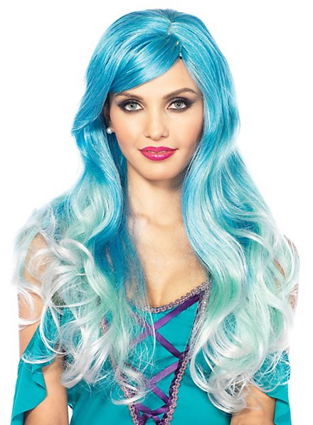 Mermaid wig turquoise-white