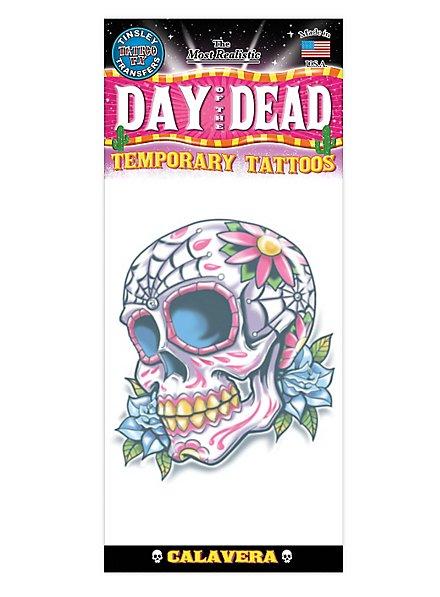 Mexikanischer Blumen-Schädel Klebe-Tattoo