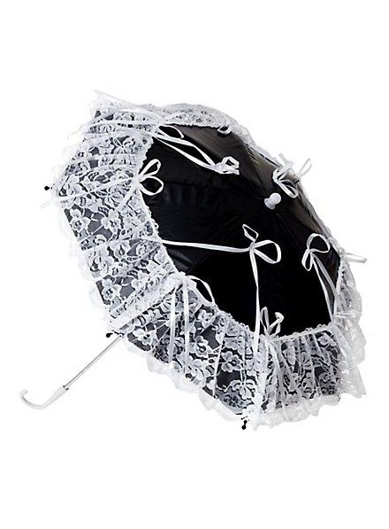 Mini Umbrella with Lace black-white