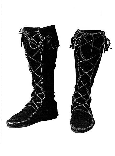 Mittelalter Stiefel schwarz mit Fransensaum