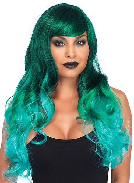 Ombre hair curly wig green