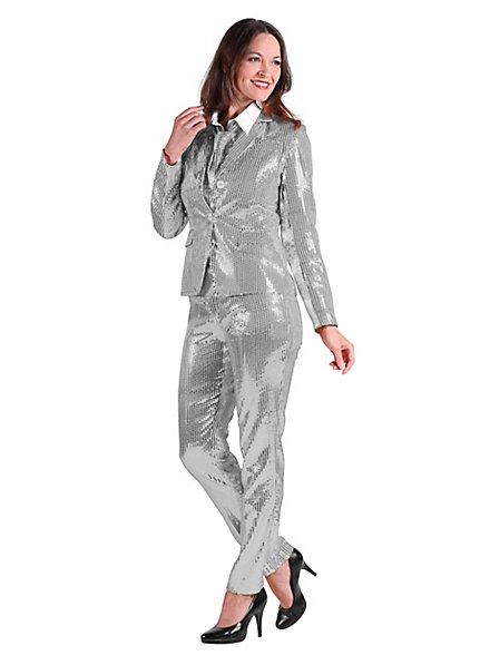 Pailletten Anzug für Damen silber