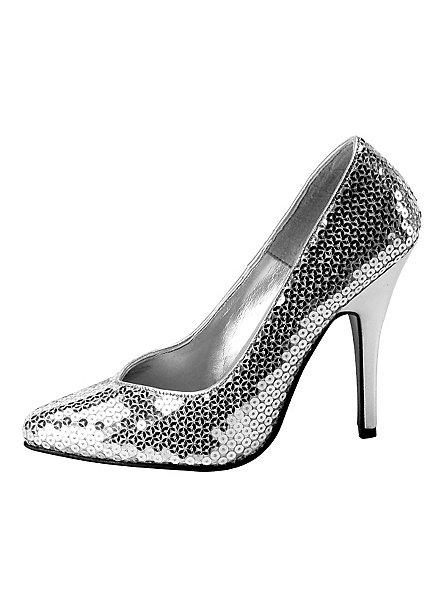 Pailletten Schuhe silber