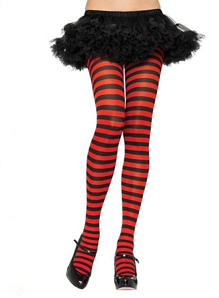 Pantyhose black-red striped