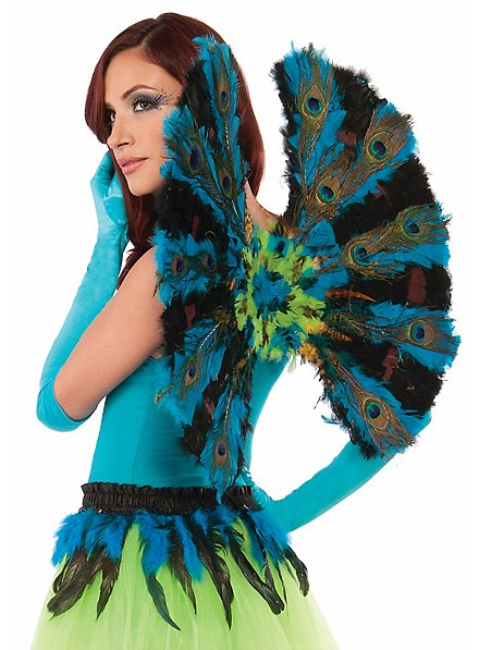 Peacock wings with feathers