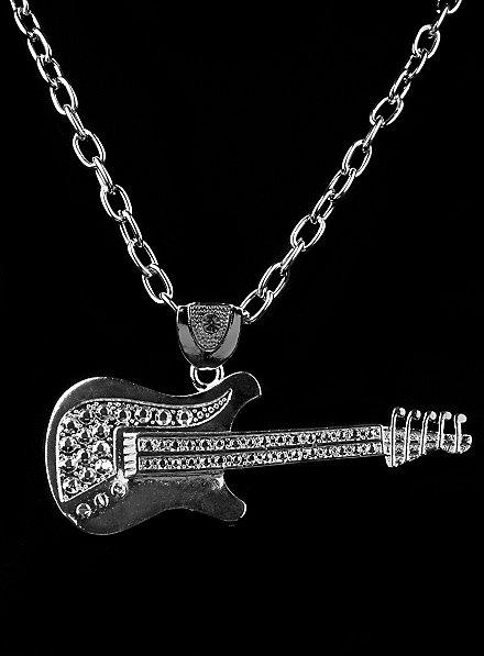 Pendentif guitare de rockstar argenté