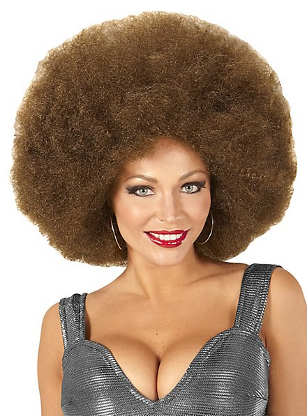Perruque afro XXL marron
