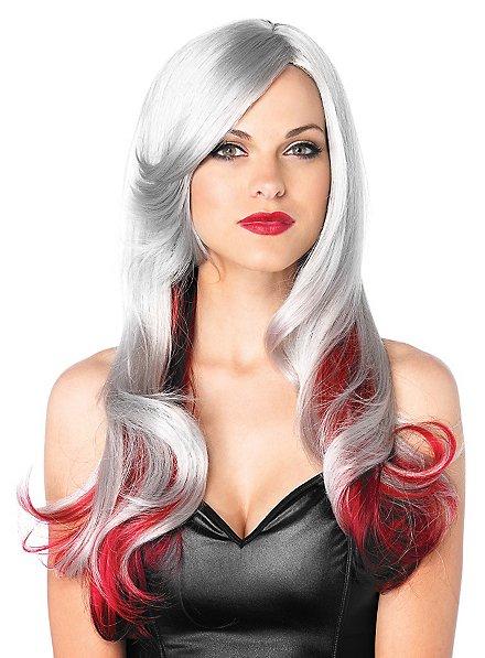 Perruque bouclée gris et rouge