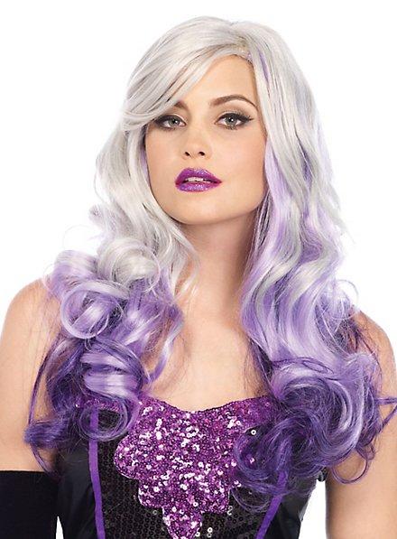Perruque bouclée gris et violet
