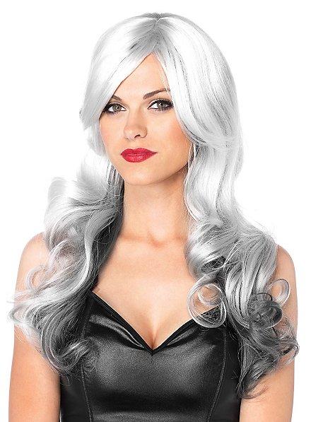 Perruque bouclée grise et blanche