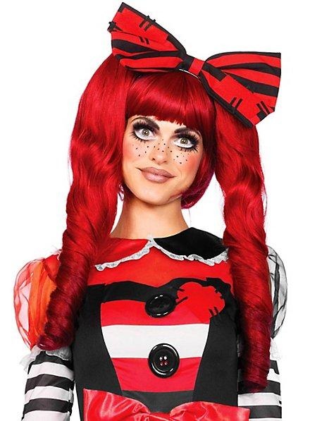Perruque de poupée rouge avec tresses à attacher