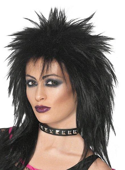 Perruque de rockeuse noire