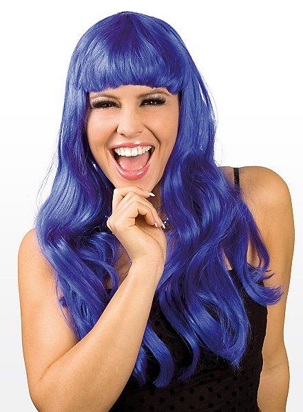 Perruque longue bleue