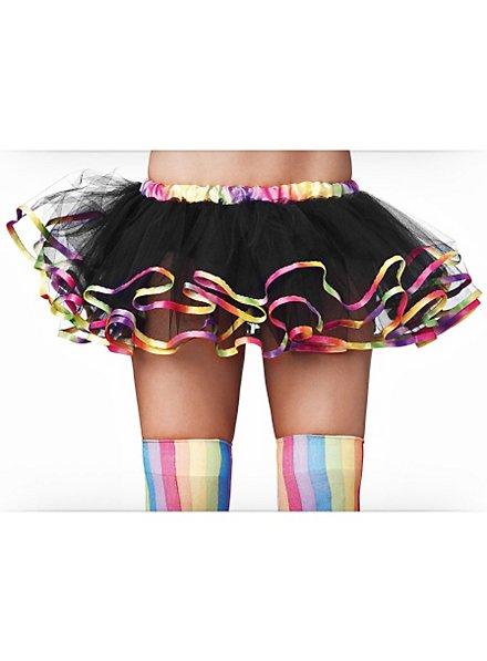 Petticoat schwarz mit Regenbogen-Akzenten