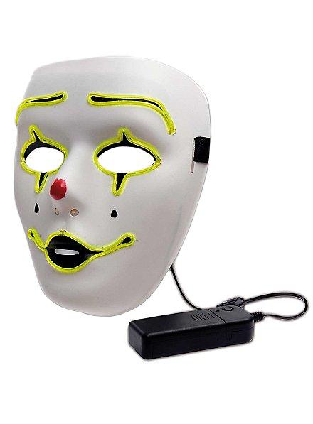 Pierrot Leuchtmaske mit Batteriefach