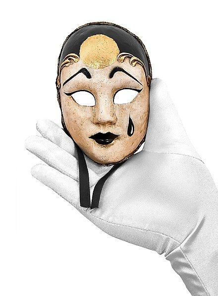 Pierrot piccolo bianco nero Venezianische Miniaturmaske