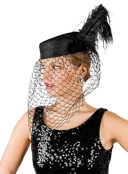 Pillbox Hat with Veil black