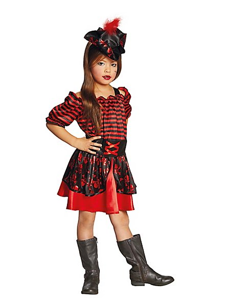 Piratenkleid schwarz-rot für Mädchen