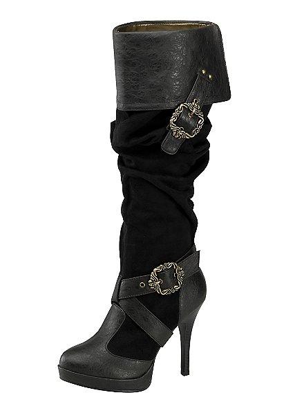Piratenstiefel Deluxe Damen schwarz