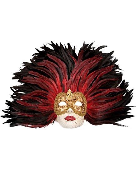 Piuma rossa Grande Volto stucco oro Venezianische Maske