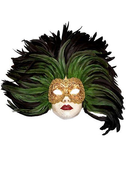 Piuma verde Grande Volto stucco oro Venezianische Maske