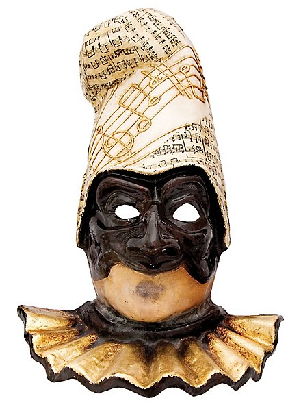 Pulcinella nera con capello musica Masque vénitien