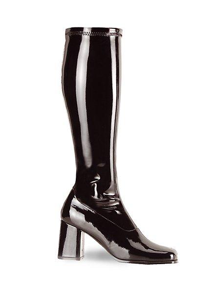 Retro Stiefel Stretchlack schwarz