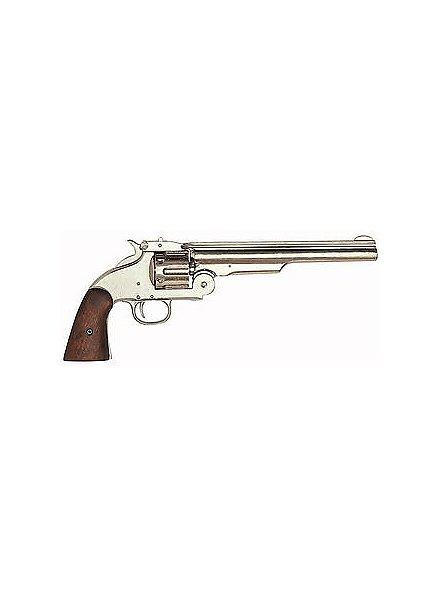 """Revolver """"Magnum"""" vernickelt Dekowaffe"""