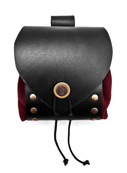 Riveted Leather Belt Pouch red