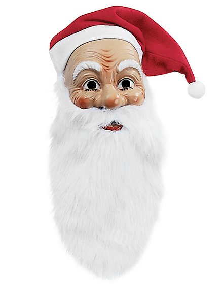 Santa Claus mask with beard and cap