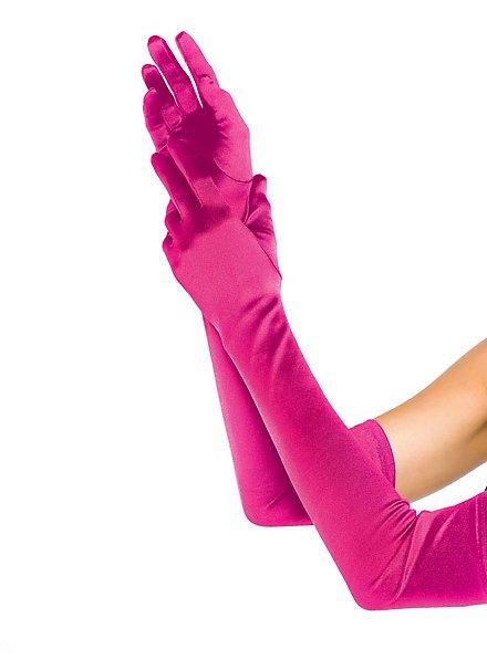 Satin Gloves extra long hot pink