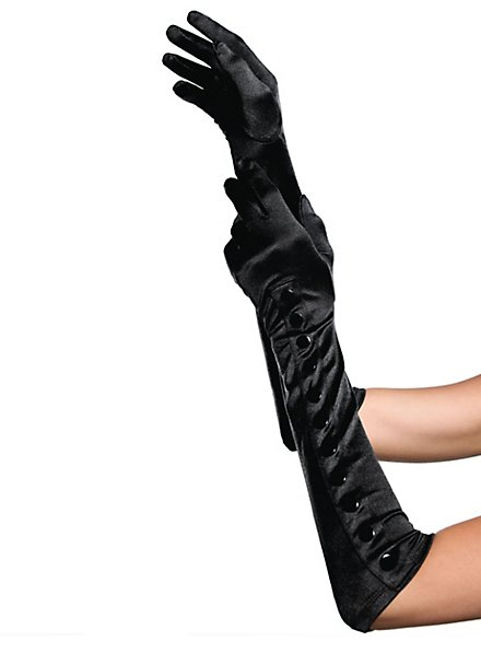 Satin Gloves with Buttons black
