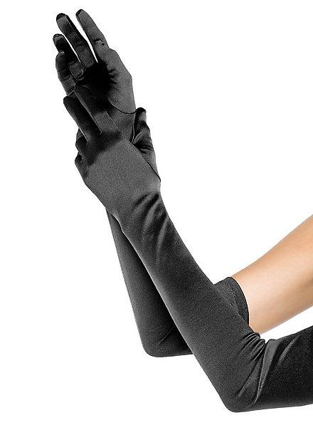 Satin Handschuhe extra lang schwarz