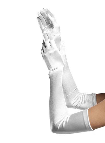 Satin Handschuhe extra lang weiß
