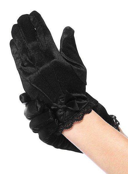 Satin Handschuhe für Kinder schwarz