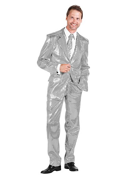Schlagersänger Pailletten Anzug silber Kostüm