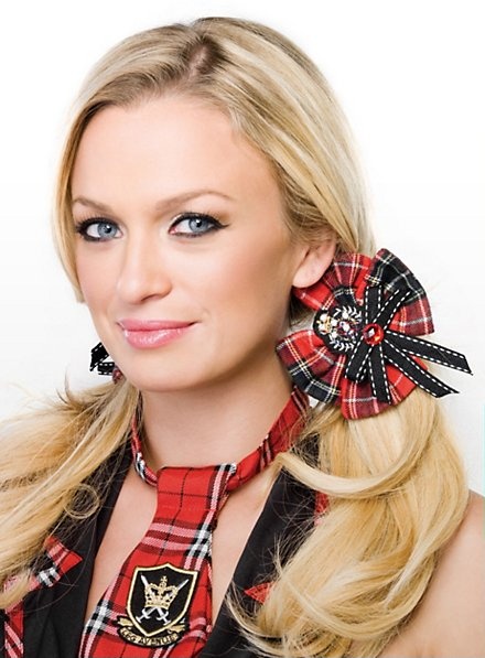 Schoolgirl Hair Bow red-black