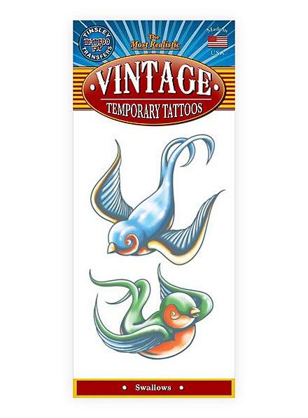 Schwalben Vintage Klebe-Tattoo