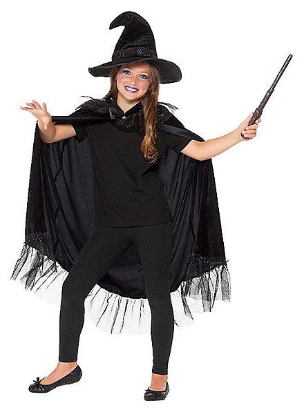 Schwarze Hexe Kostümset für Kinder