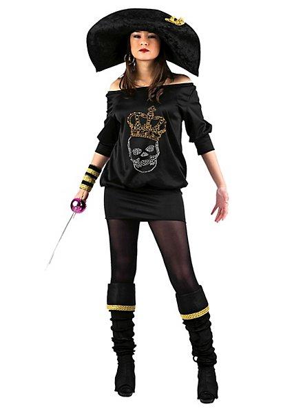 Schwarze Piratin Strass Kostüm