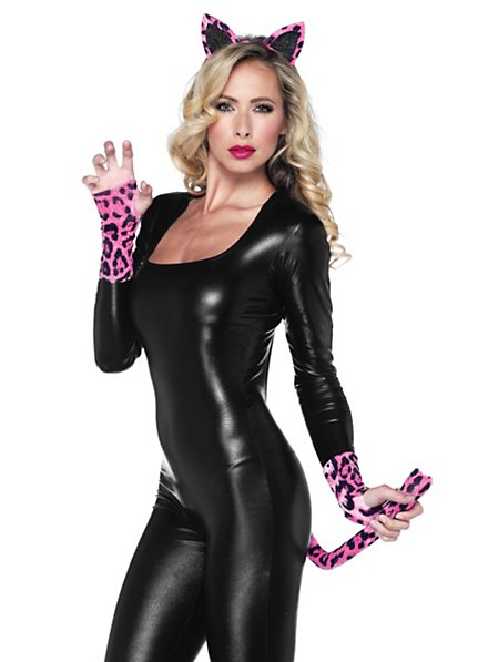 Sexy Leopard Accessoire Set neon-pink