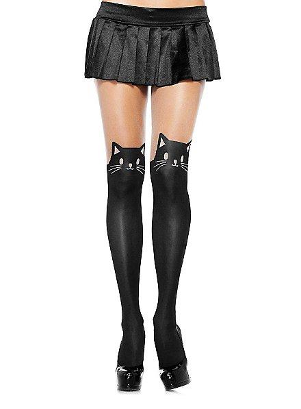 Sheer Black Cat Pantyhose