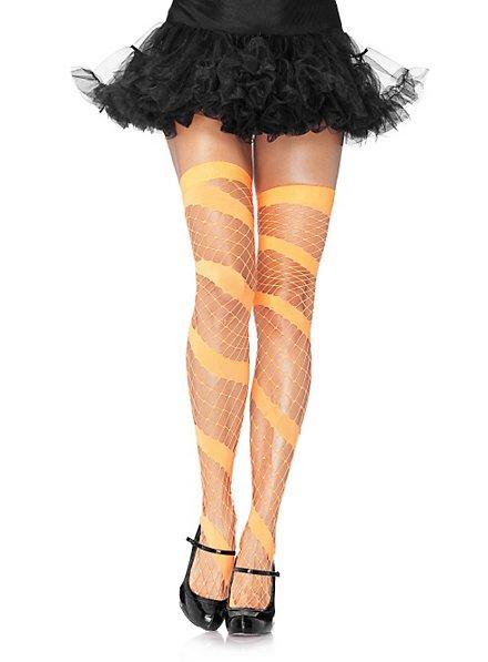 Spiral Diamond Mesh Stockings orange