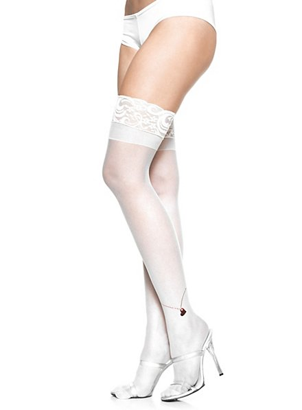Stay up Stockings white  with printed anklet