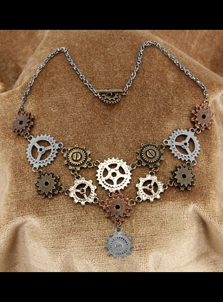 Steampunk Gear Jewelry Set With earrings and necklace