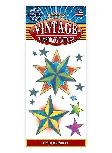 Sterne Vintage Klebe-Tattoo